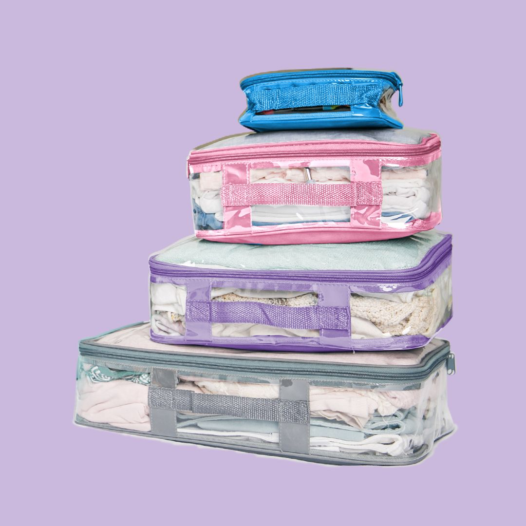 Cute turquoise, pink, lilac and gray packing cube colors
