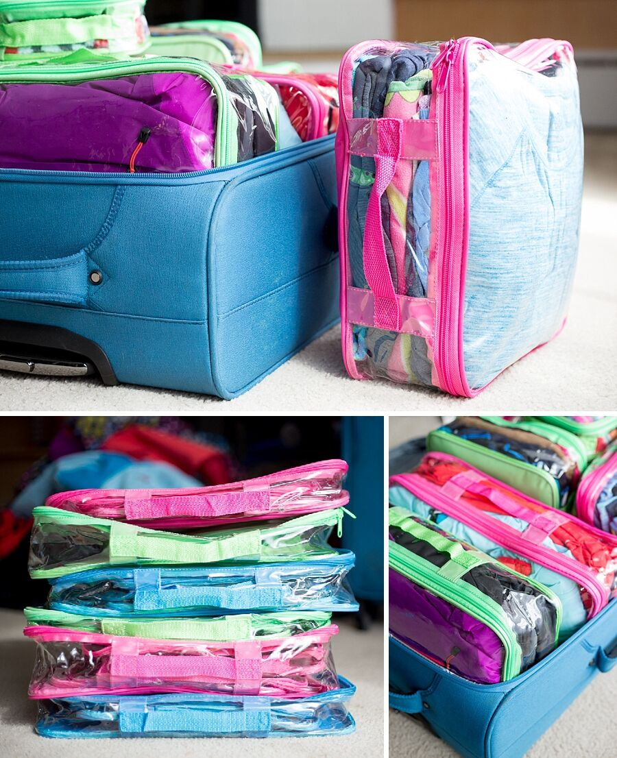 Color coded suitcase with packing cubes