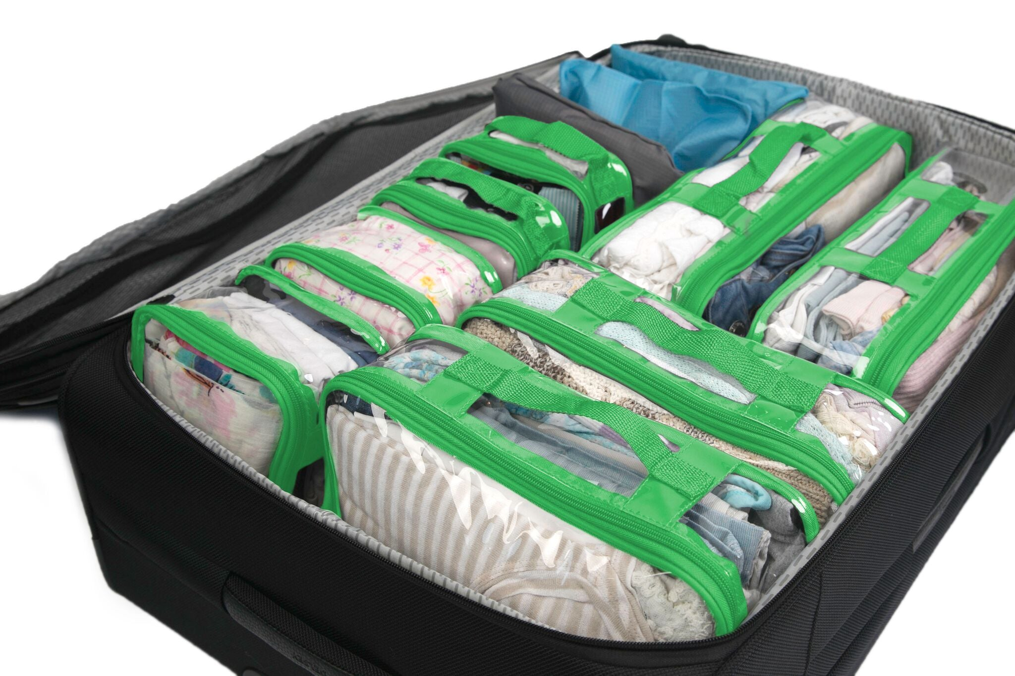 Luggage organizer set in green