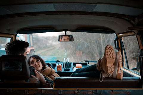 Couple relaxing on a road trip