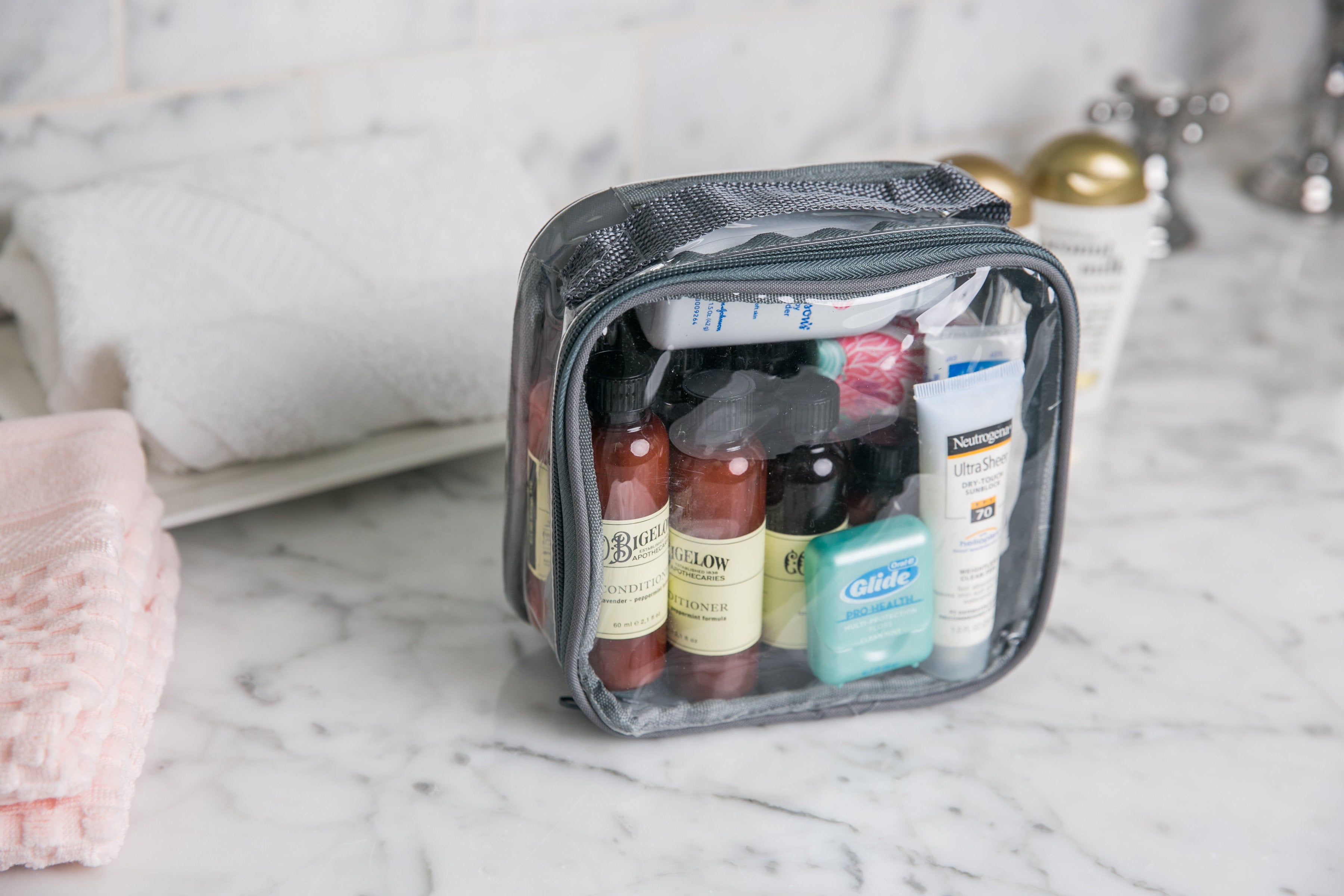 Extra small packing cube with skincare products inside