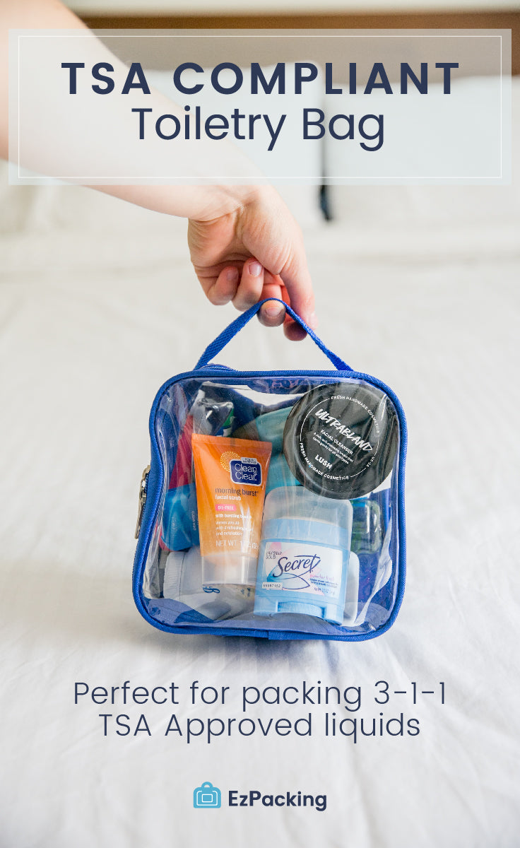 EzPacking clear toiletry bag for carry-on, just under quart sized