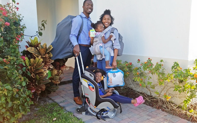 Family ready for backpacking trip