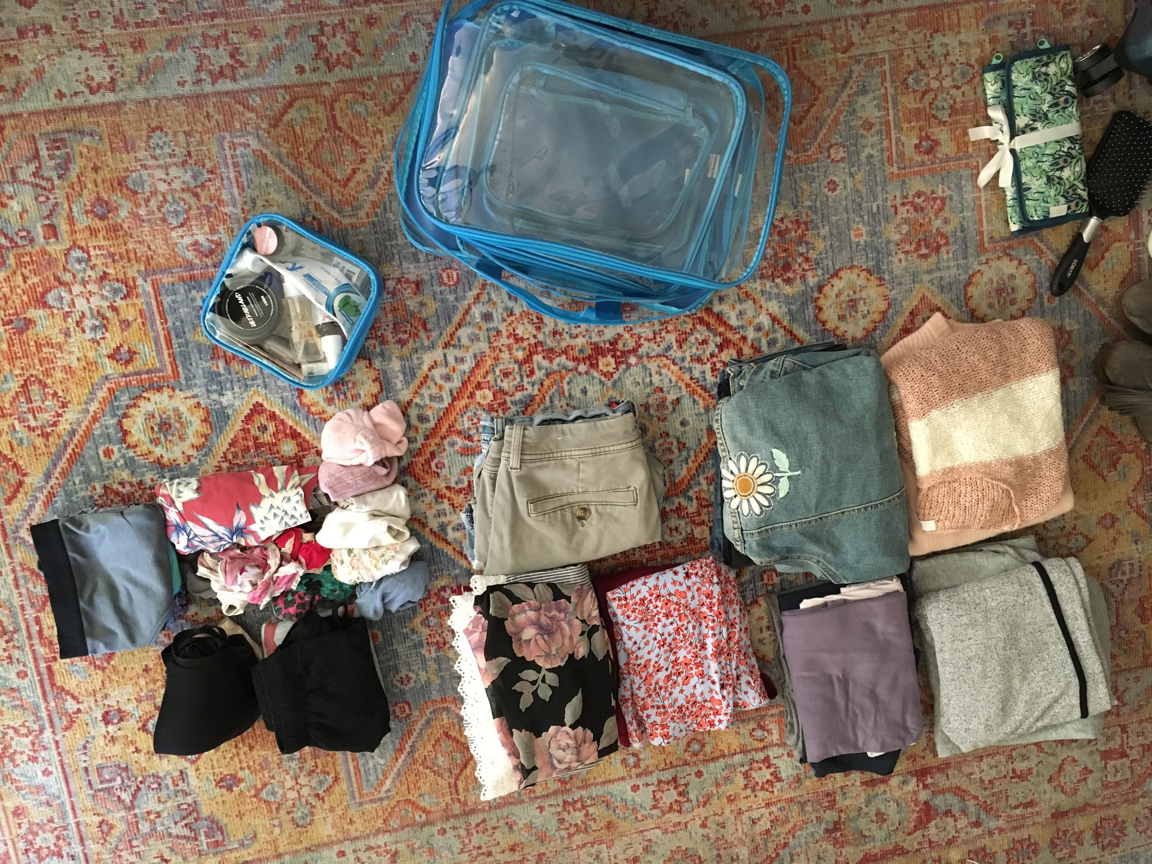 Folded clothes and clear packing cubes on the floor