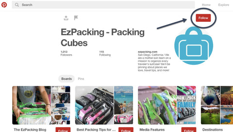 Follow EzPacking on Pinterest