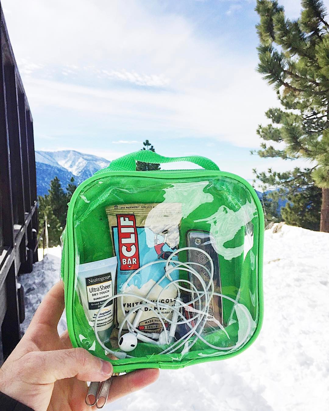Packing cube with ski essentials