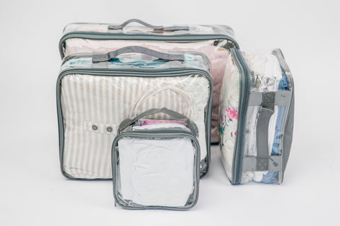 Grey packing cubes for organizing at home