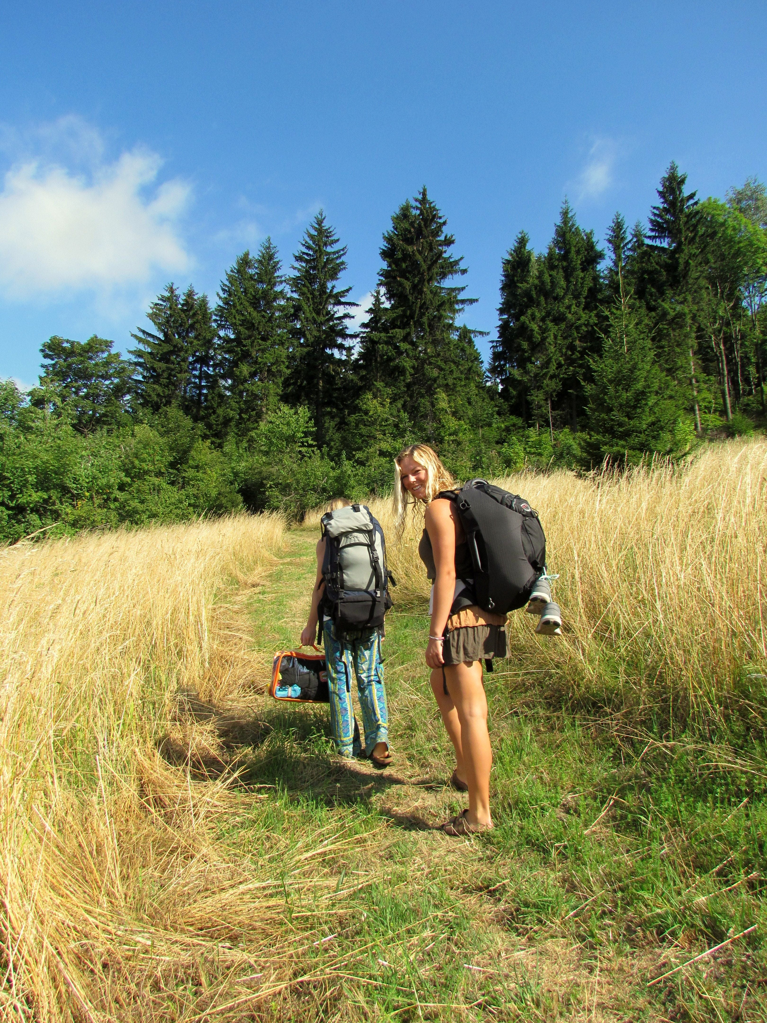 Two young ladies hiking in Summer