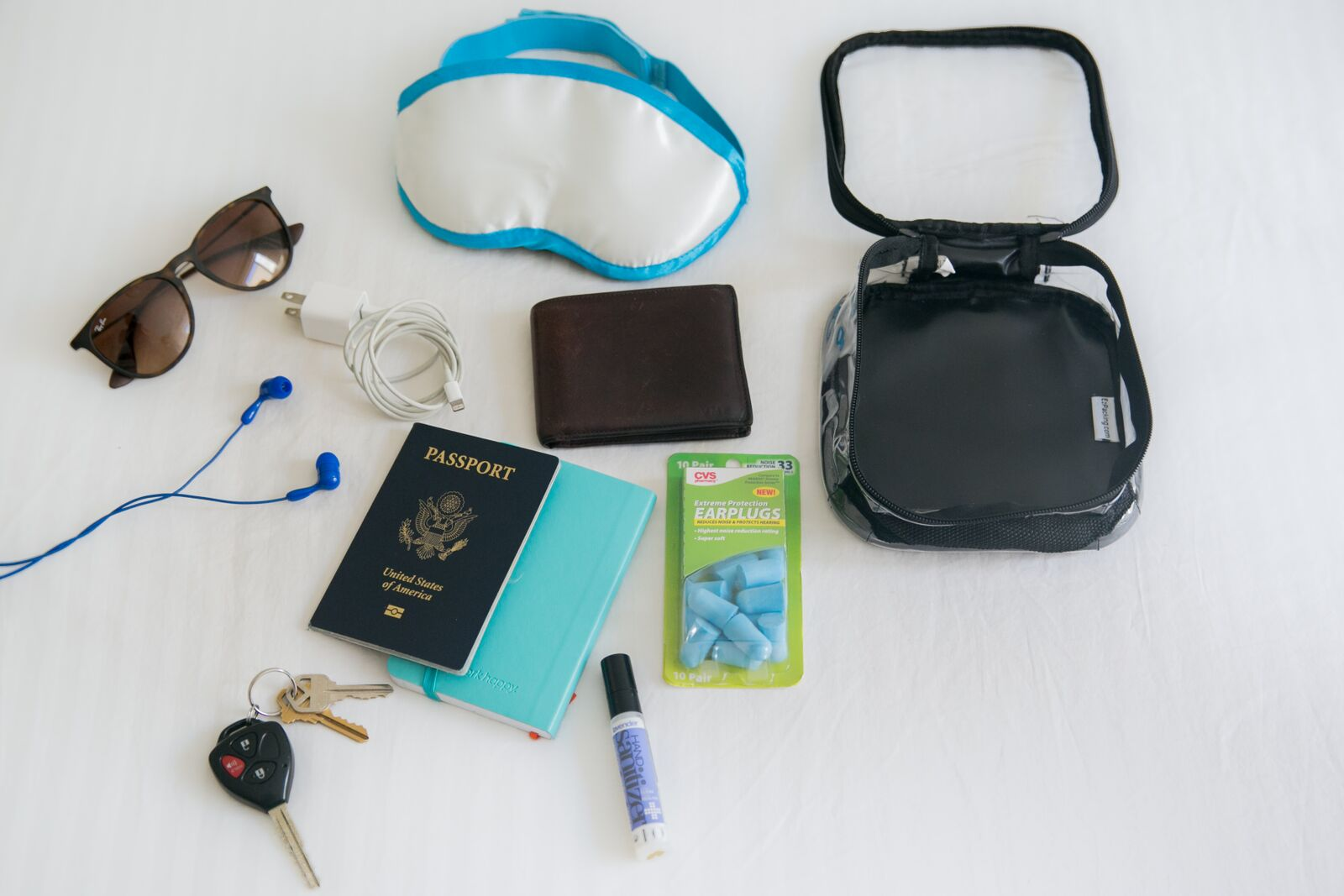 Carry-on items and documents for tropical vacation packing list