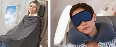 Long flight items like blanket, eye mask and neck pillow for comfort