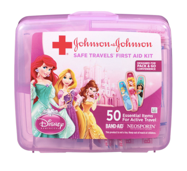 First aid kit with Disney princesses theme you can bring when flying with a toddler