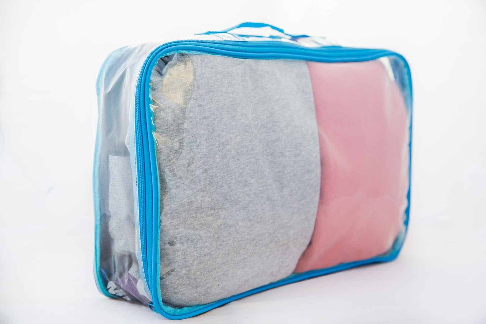 Turquoise clear large packing cube for carry-on luggage