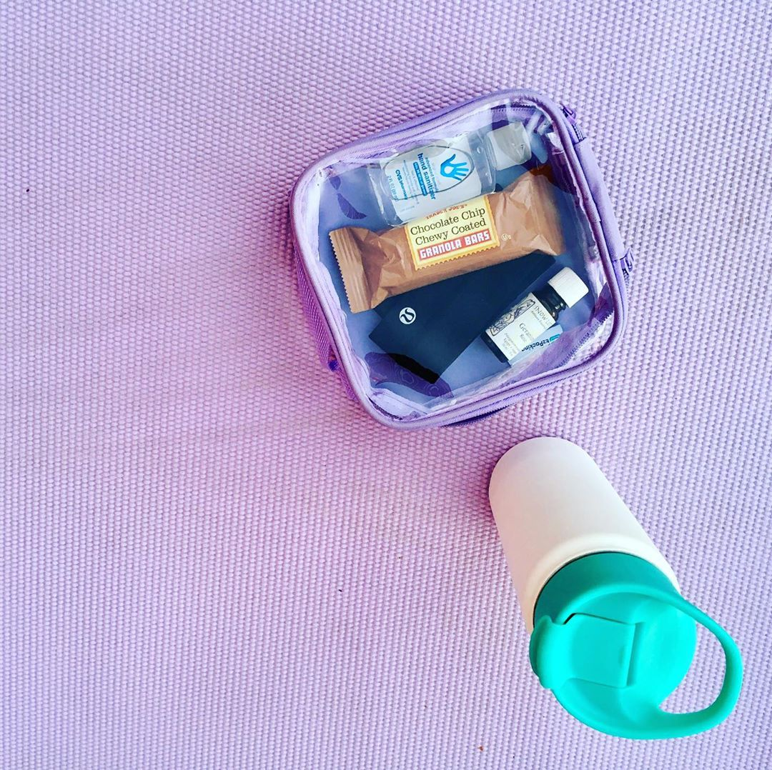 Lilac extra small cube and a water bottle