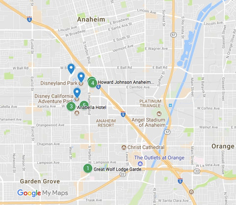 Map of budget places to stay near Disneyland