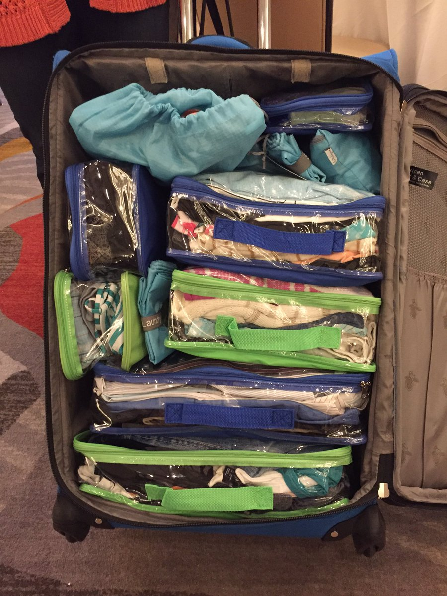 Using packing cubes to organize suitcase