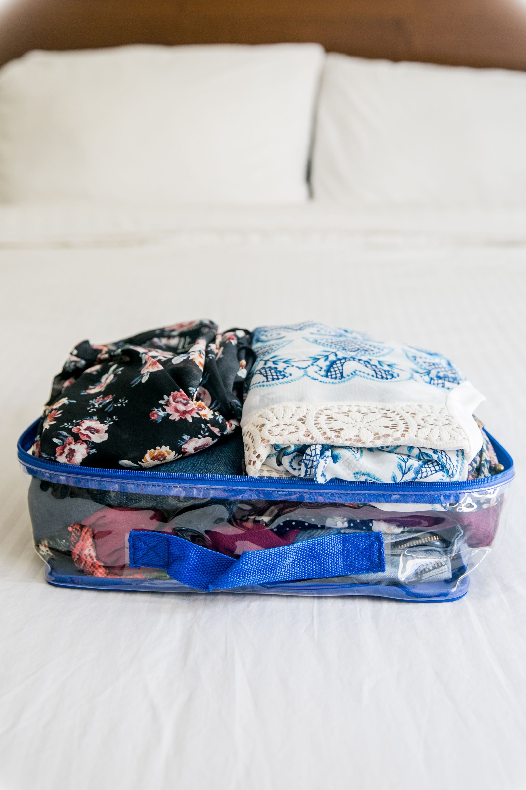 Overnight trip outfits packed in royal blue cube