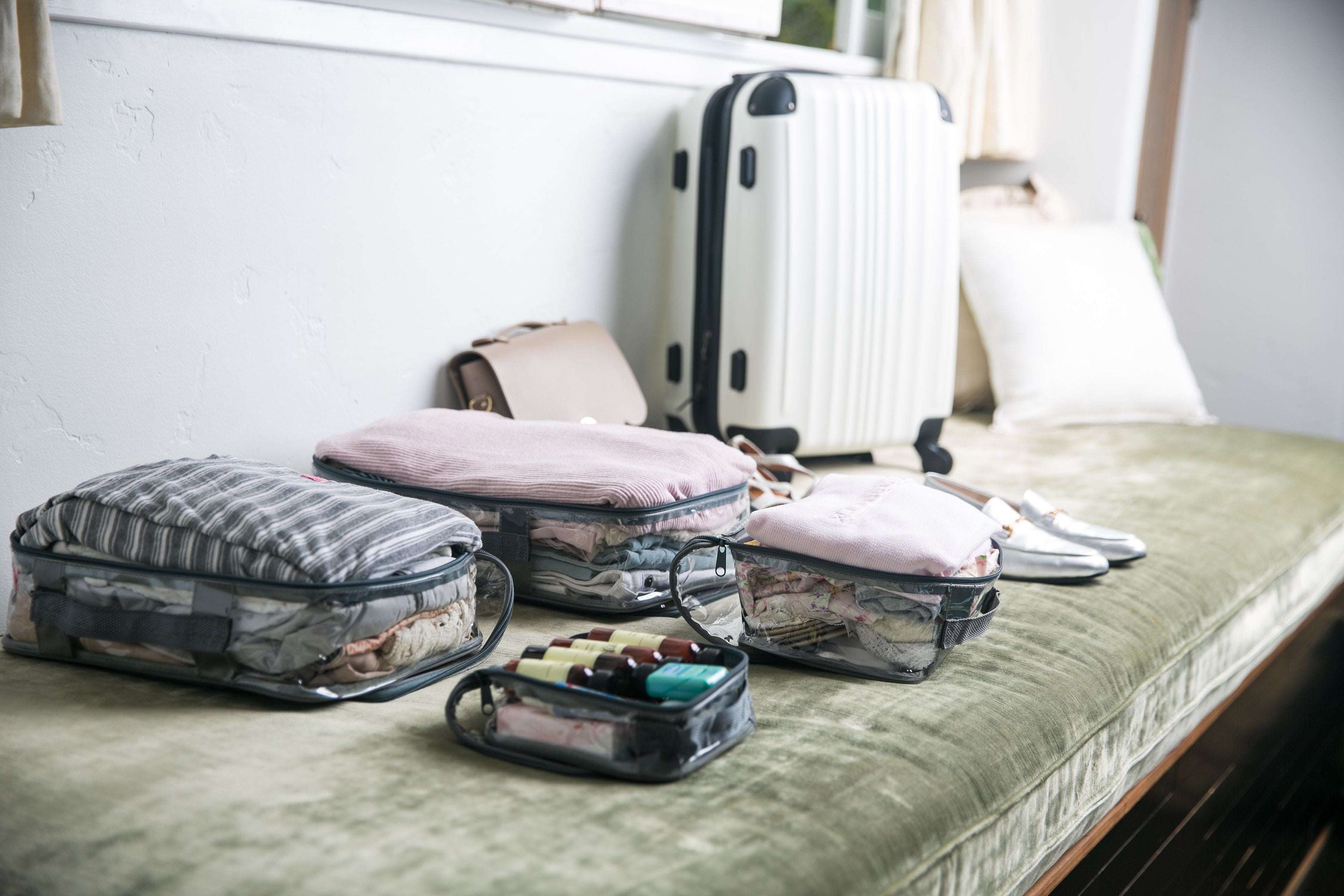 Clear packing cubes for travel