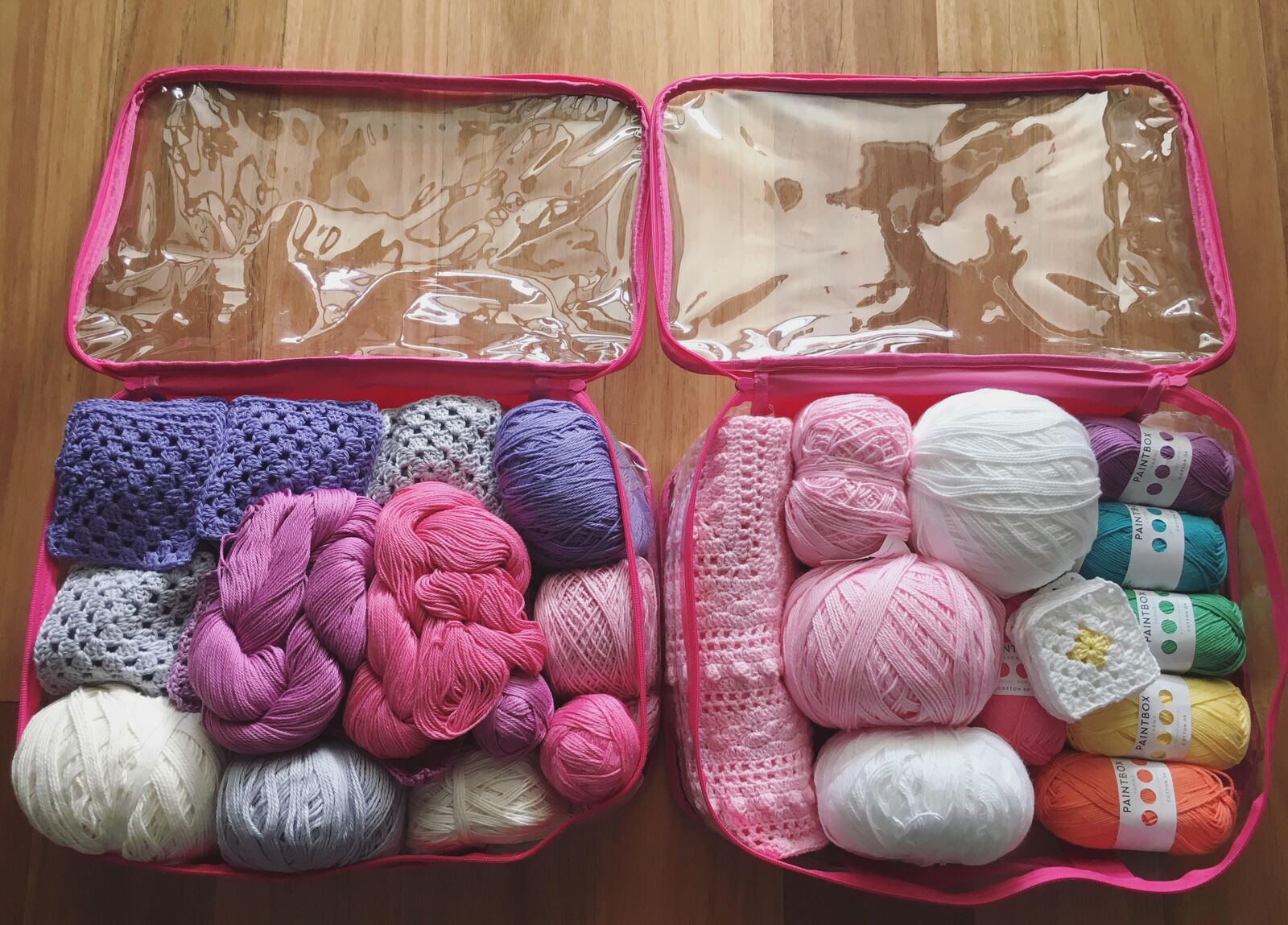 Craft room organization with packing cubes