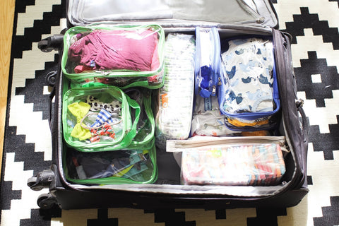 Clear packing cubes for organizing kiddie beach essentials