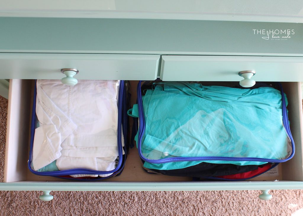 Packing cubes inside drawer