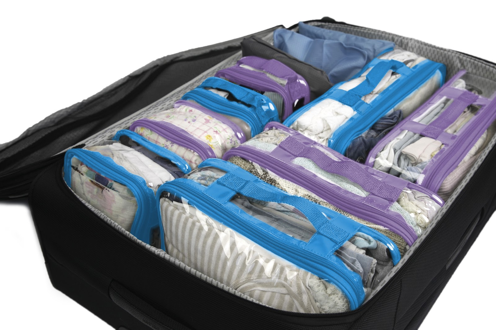 Packing cubes inside holiday suitcase