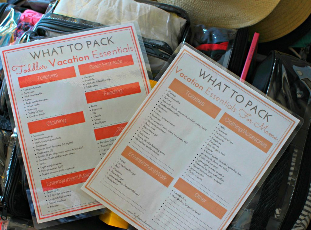 Packing list for suitcase