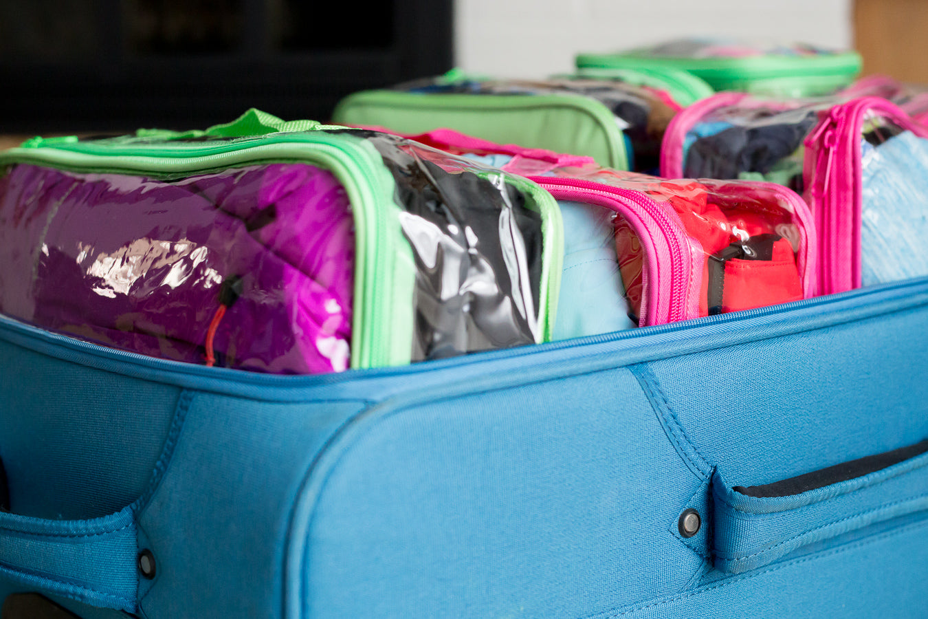 Packing cubes packed in luggage
