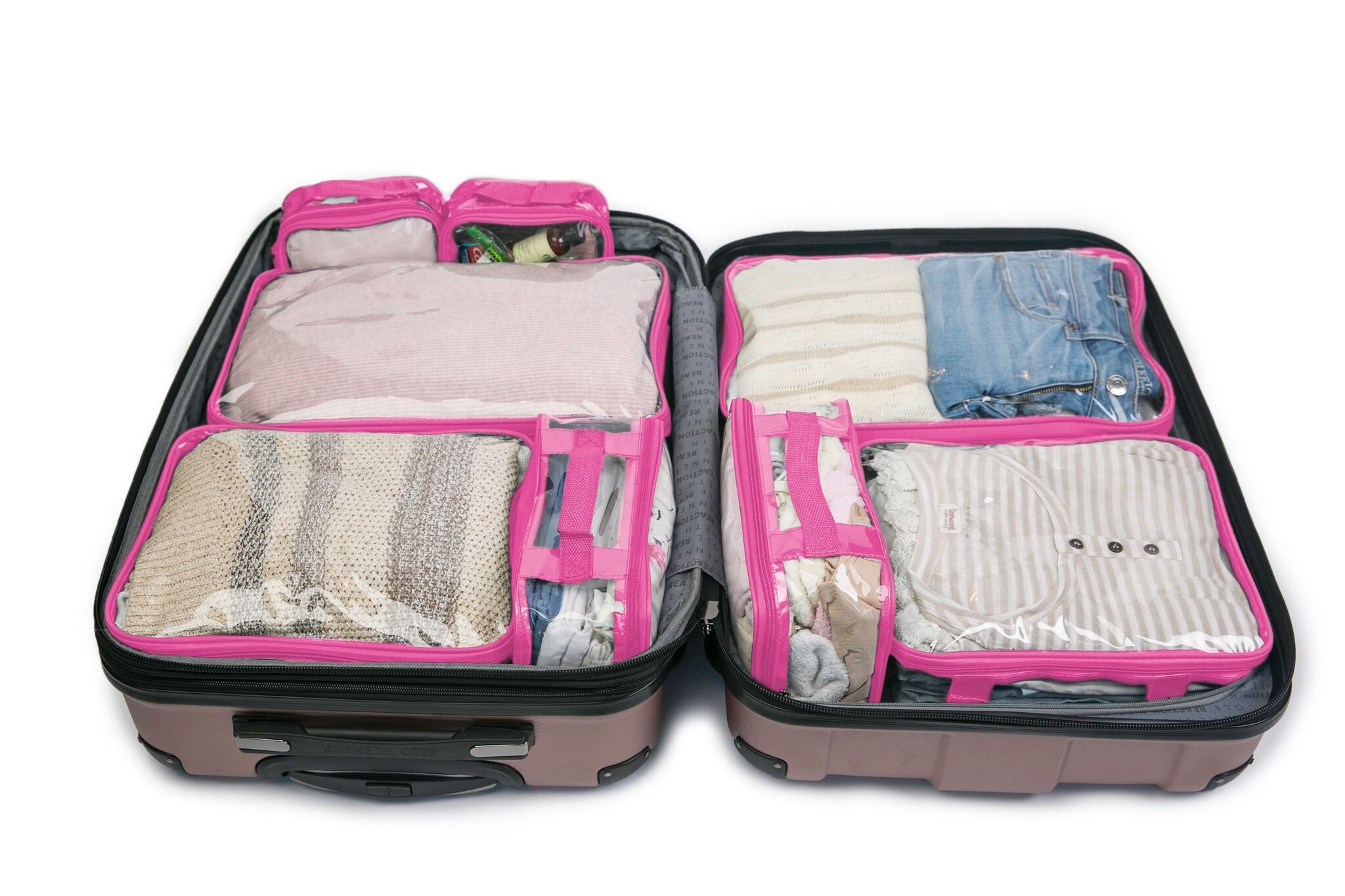 Pink packing cubes inside blue suitcase