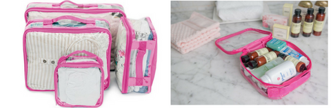 Pink packing cubes to keep mom and baby essentials before giving birth
