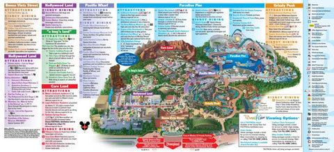 Disneyland map and marks of specific landmarks