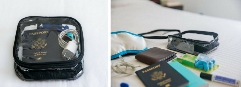 Carry-on essentials for long flight including passport, identification card and eye mask inside small packing cube