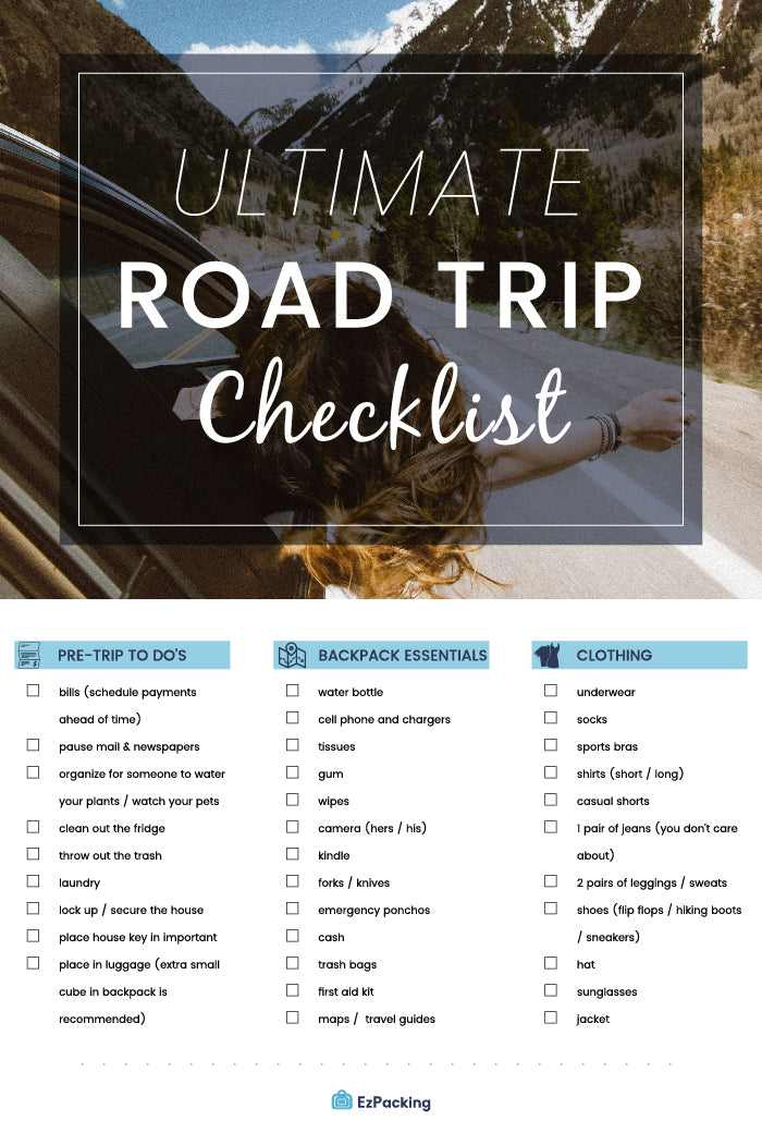 Road Trip Packing List For Families What To Pack For A Long Car Ride Ezpacking Inc