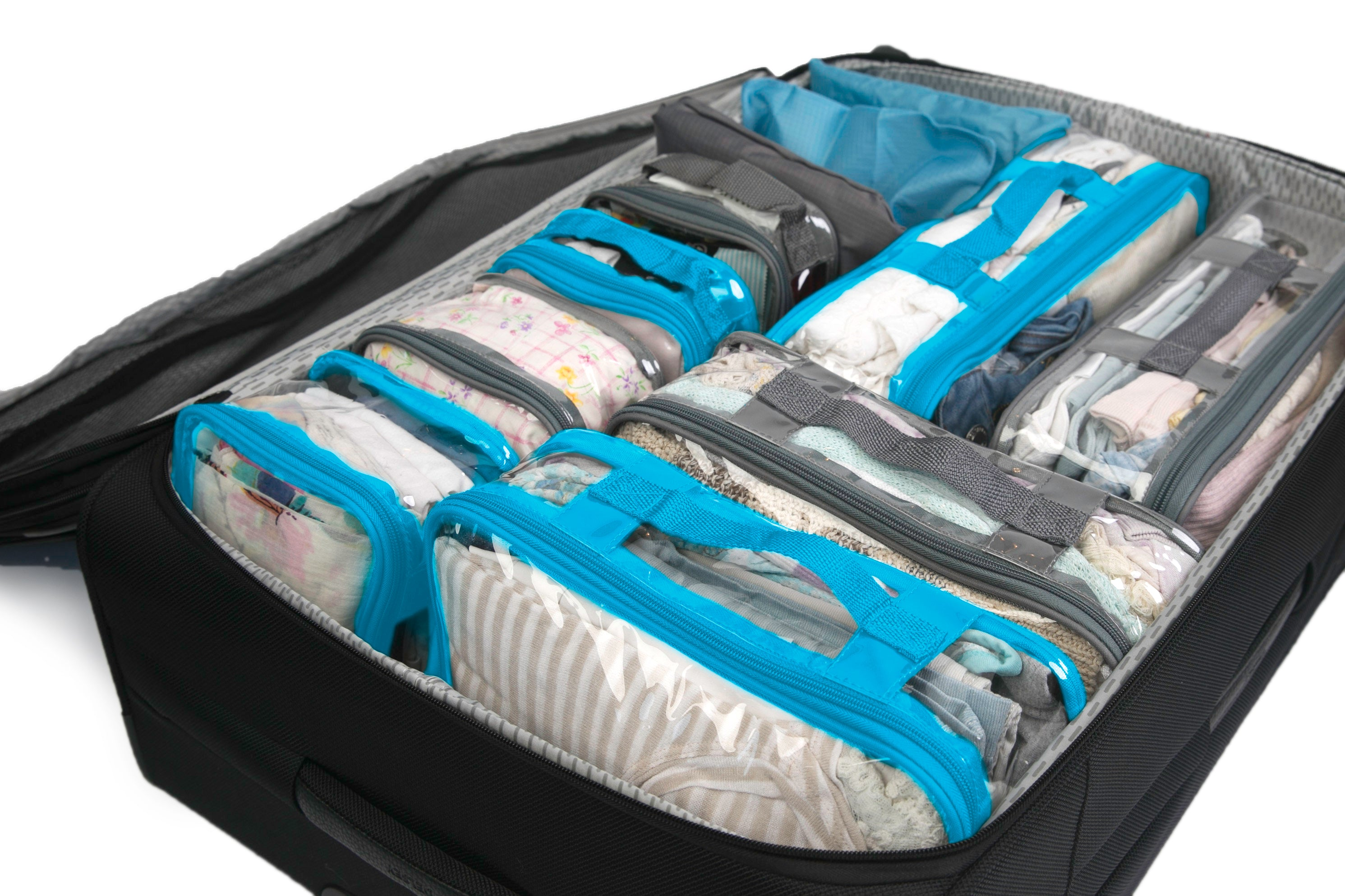 Grey and blue Packing cubes inside an organized suitcase