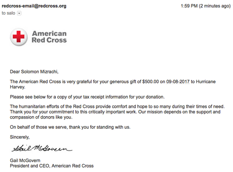 Our email confirmation from the Red Cross. $500 donation from EzPacking