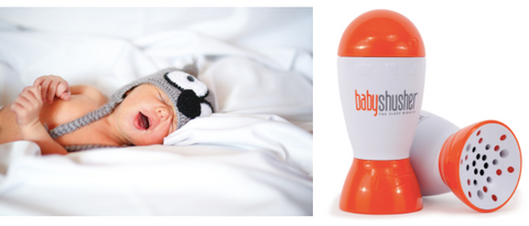 Baby sleeping with mouth open and a baby shusher device