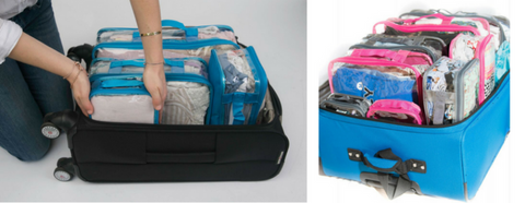 Pink and blue packing cubes for couple sharing a suitcase