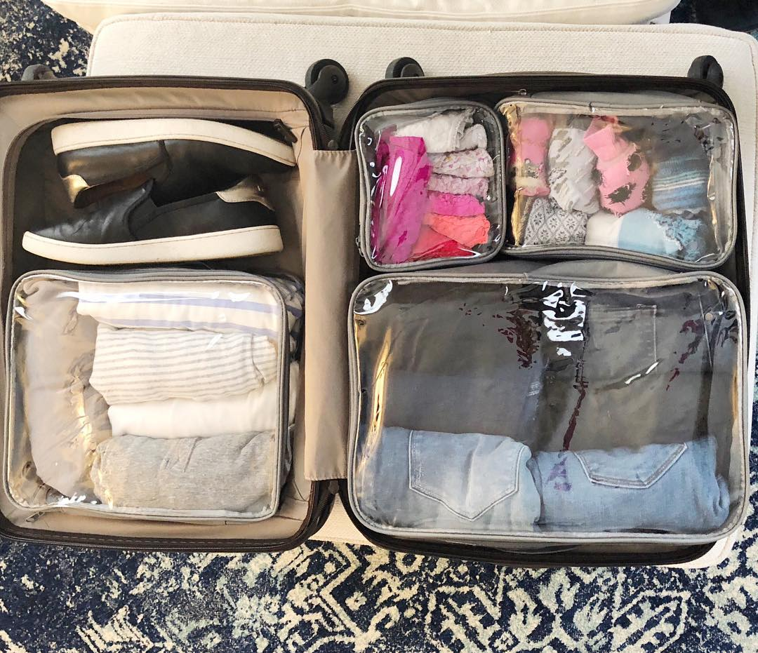 Shoes and starter set packed in a carry on suitcase