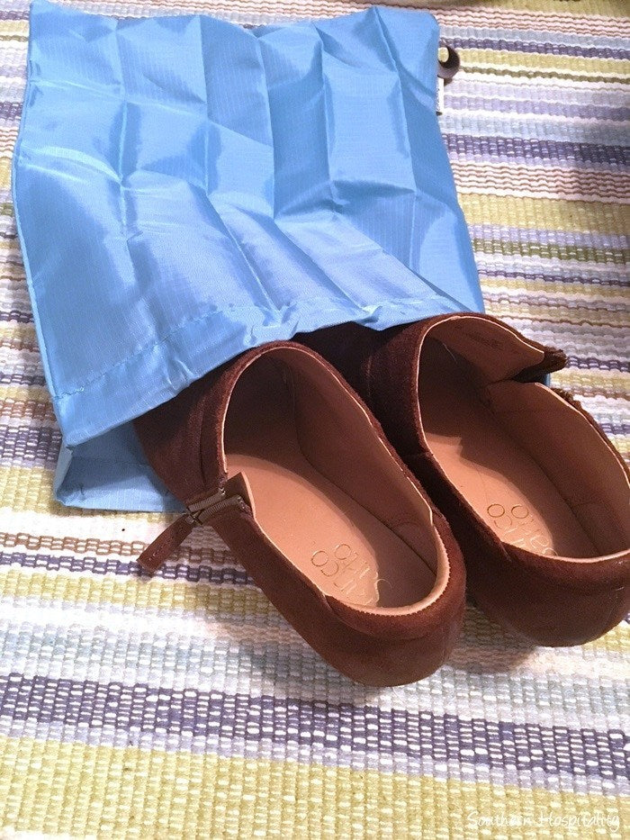 Dress Shoes in a travel shoe bag