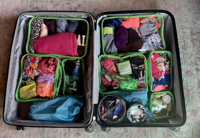 Suitcase organization with packing cubes