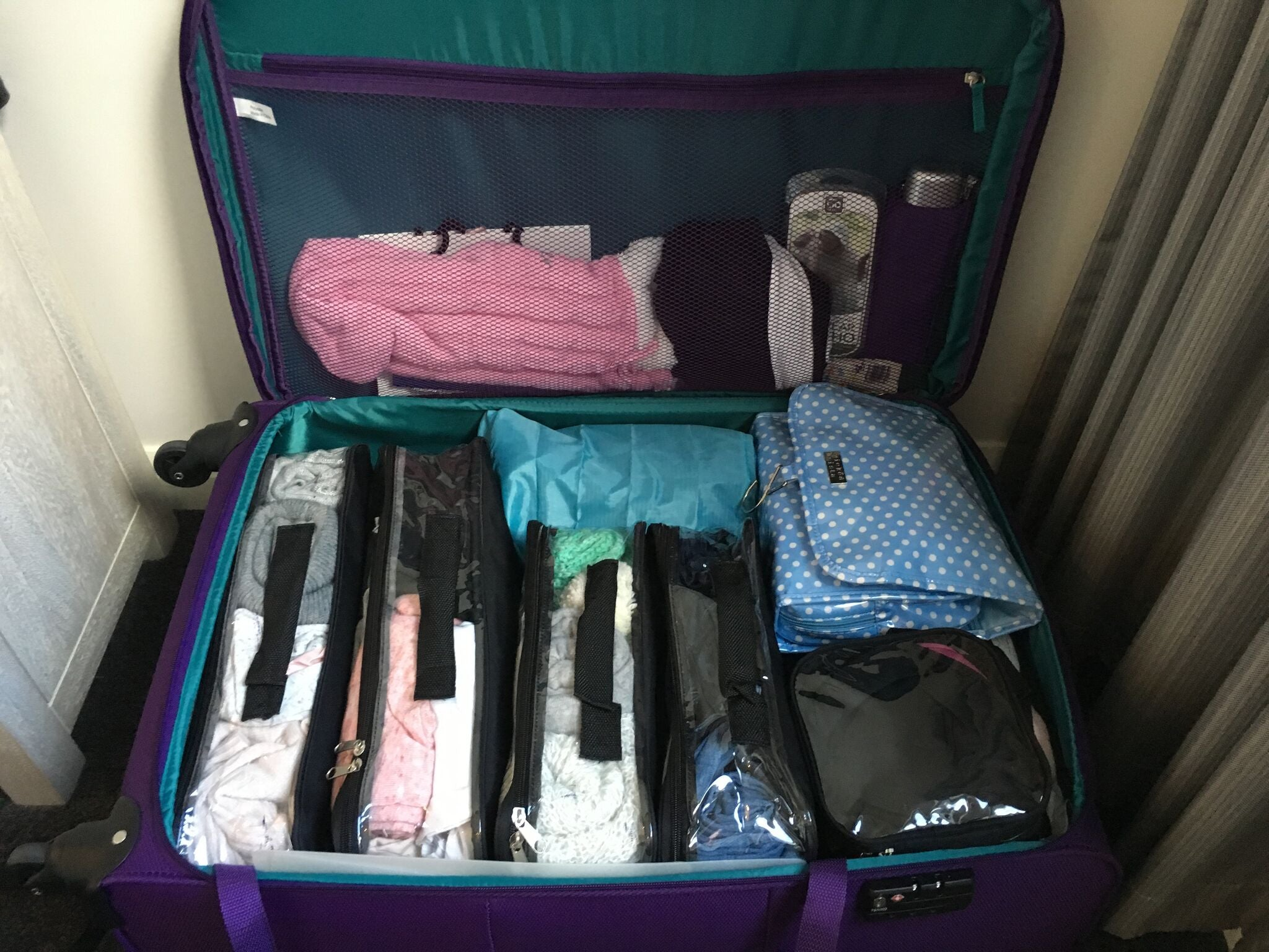 Suitcase packed for debarkation day