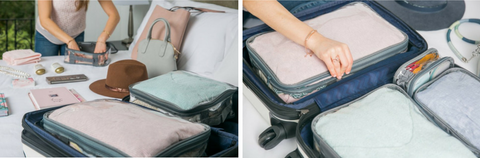 Avoiding overpacking travel mistake by using packing cubes