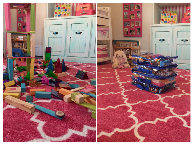 Toy room organization with packing cubes