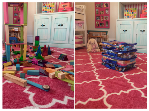 Kid's toy room organization using EzPacking cubes
