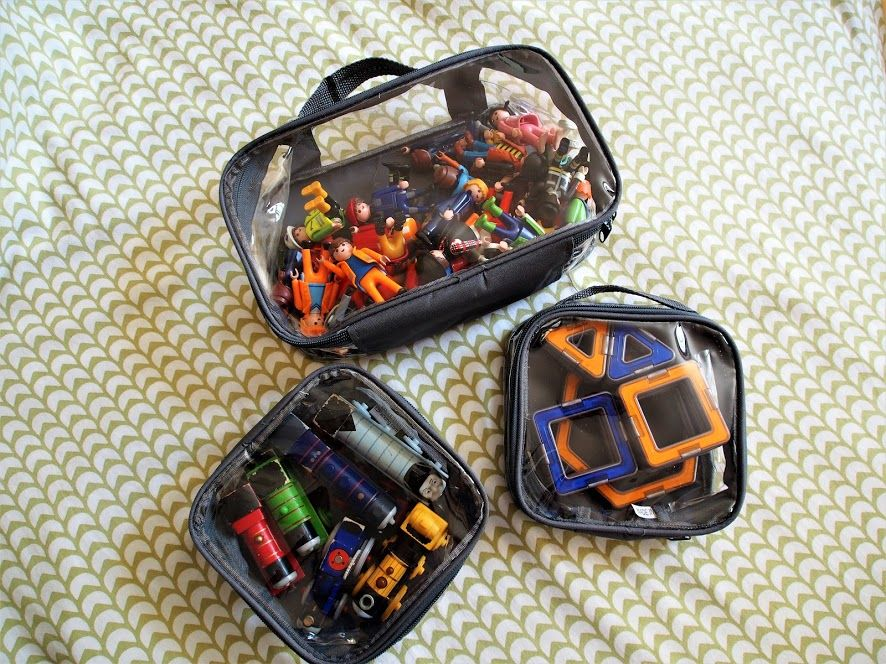 Toys inside packing cubes