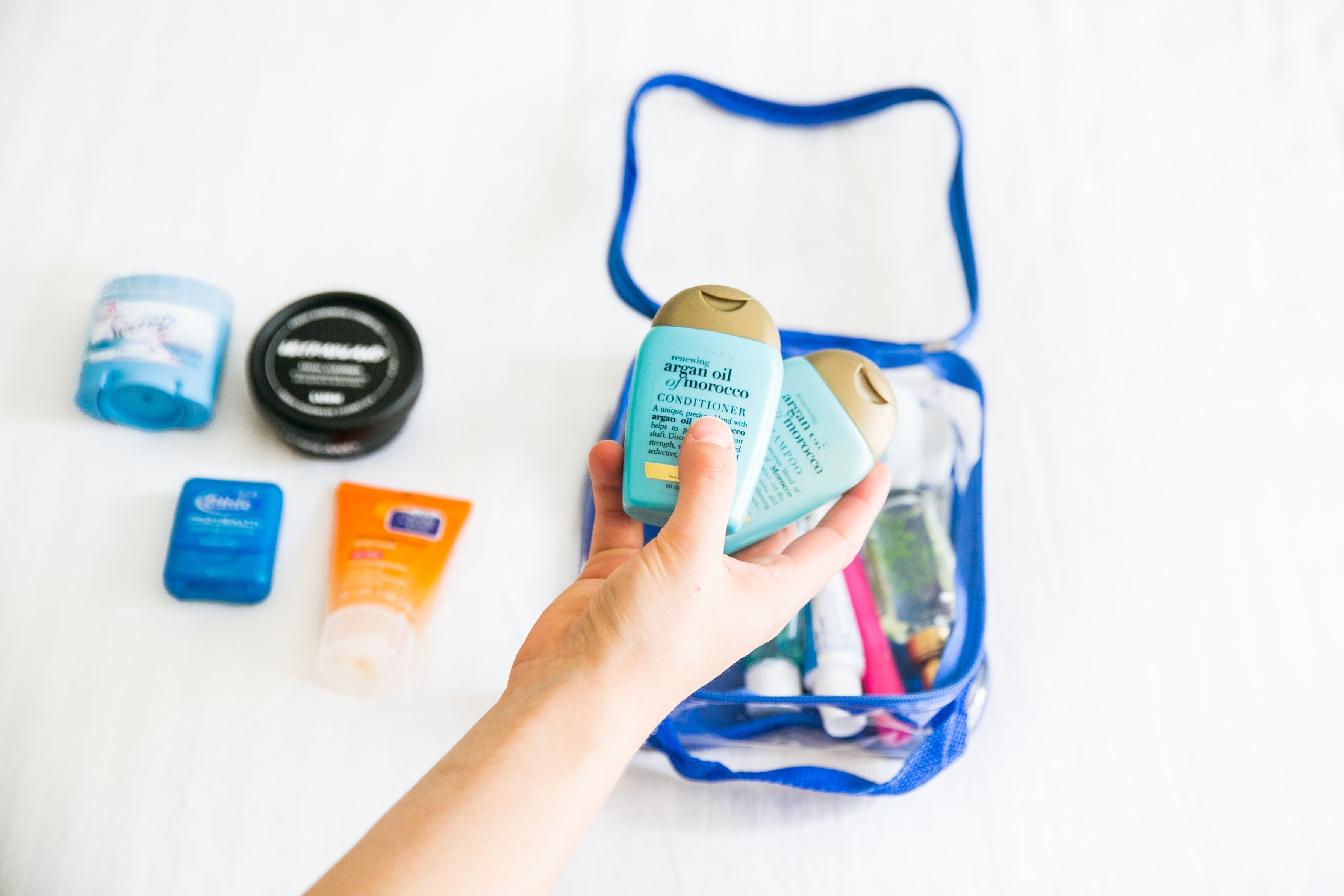 Travel size toiletries for things you need for skiing