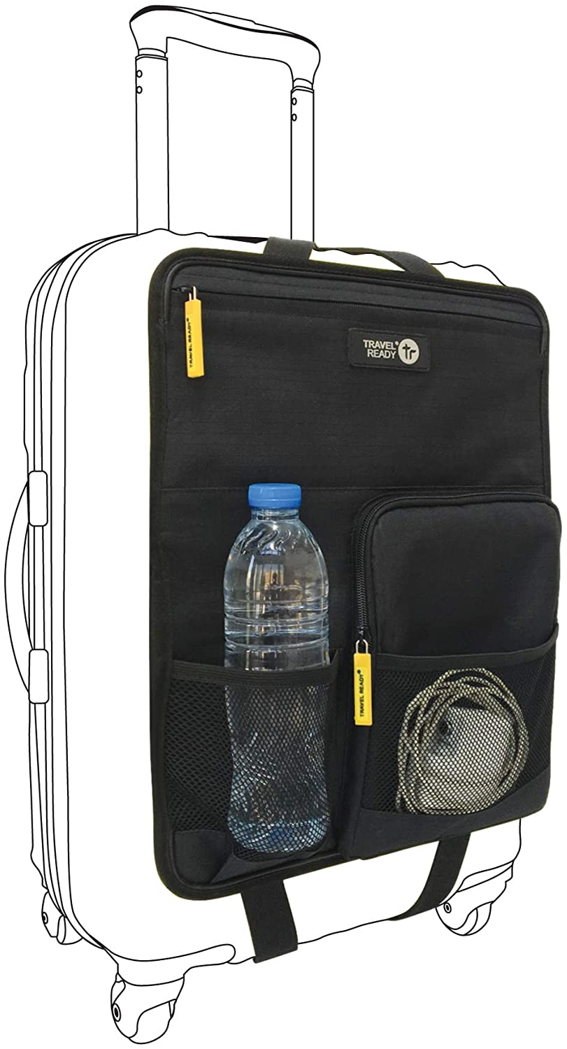 Travel ready pouch on hardshell carry on luggage