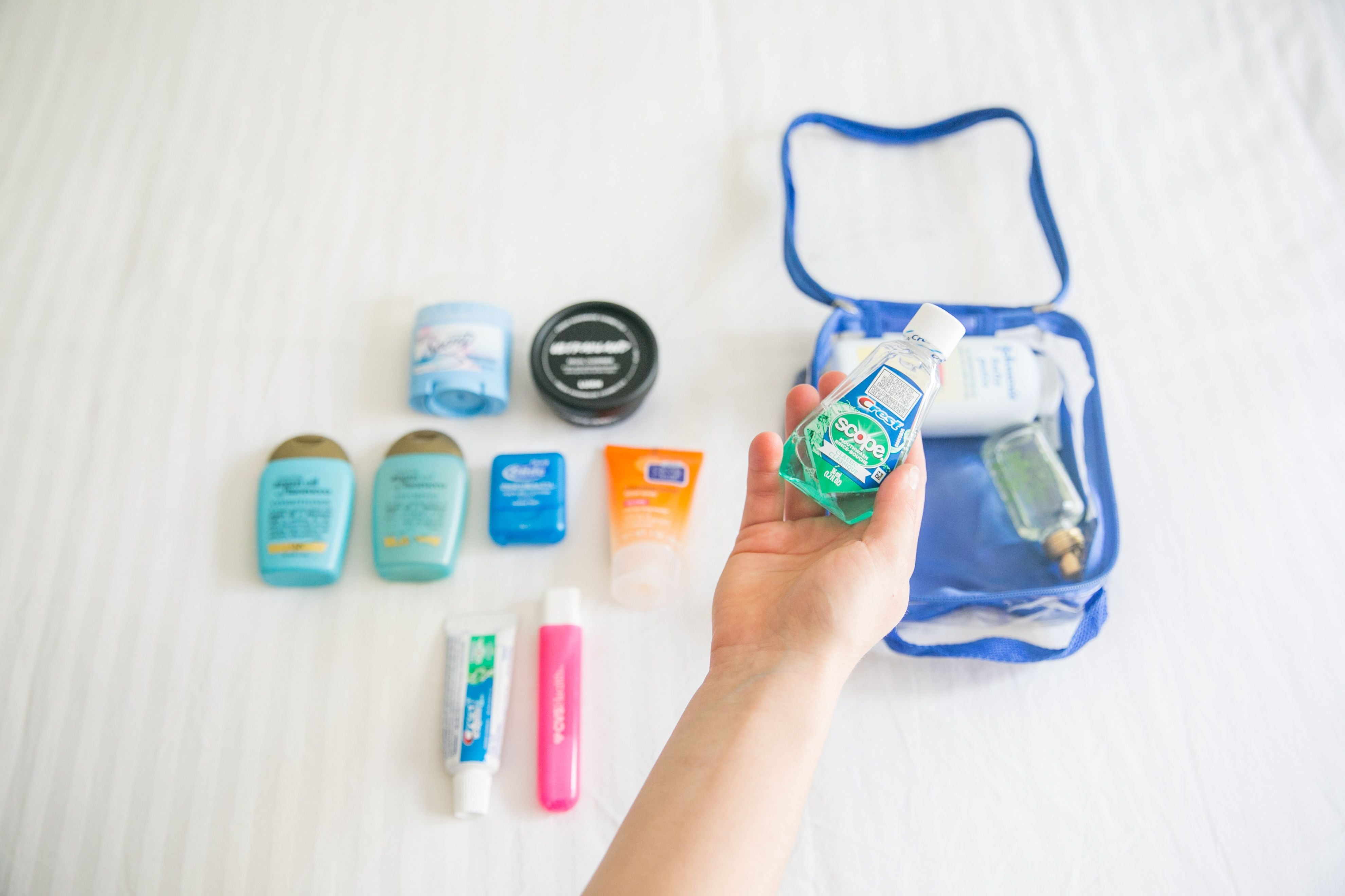 Travel size mouthwash and other toiletries