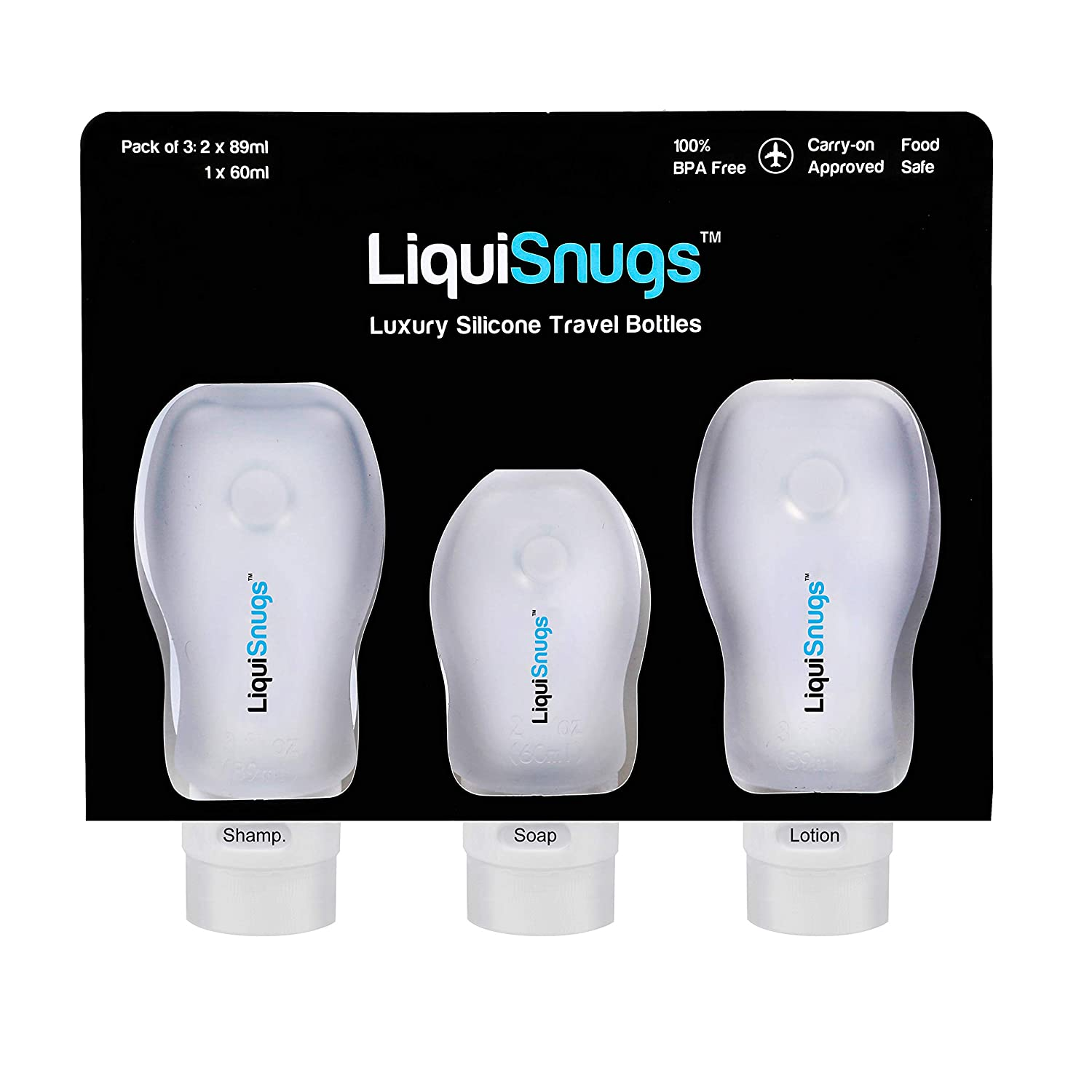 Travel size squeezable silicone bottles