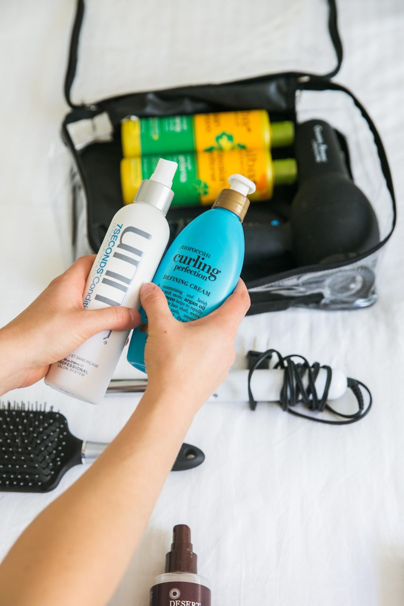 Leave-in conditioner and curling cream for hair travel essentials