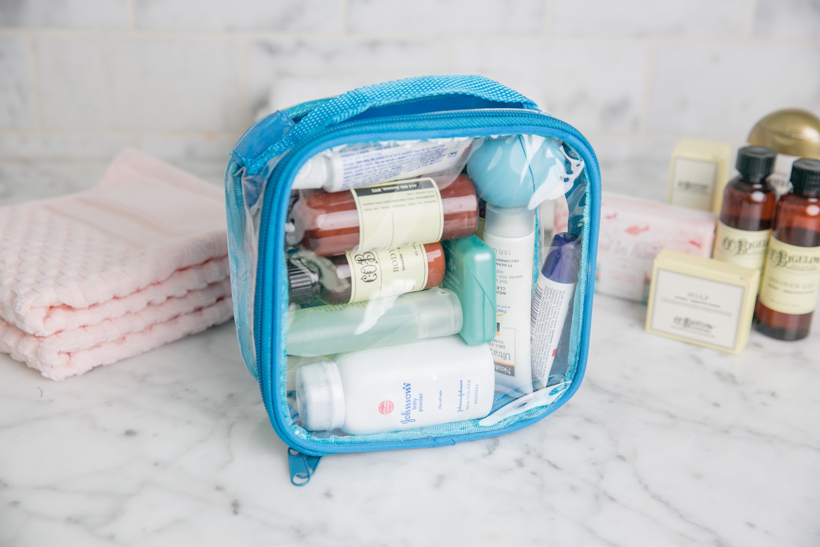 Turquoise extra small TSA approved toiletry bag from EzPacking